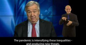 Skärmbild från FNs generalsekreterare.