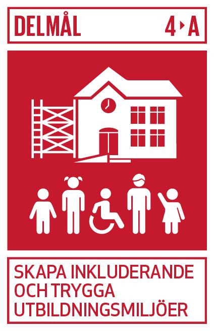 röd bakgrund med vit illustration av skola och skolbarn med olika funktionsvariationer med texten delmål 4 A skapa inkluderande och trygga utbildningsmiljöer