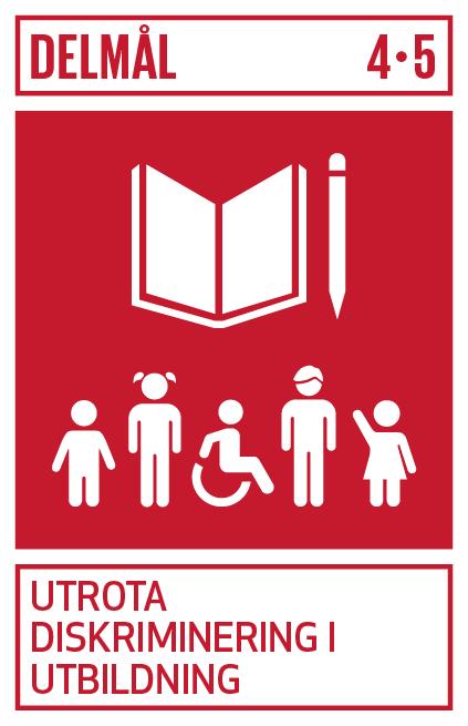 röd bakgrund med vit illusration av bok och penna med texten delmål 4 . 5 utrota diskriminering i utbildning