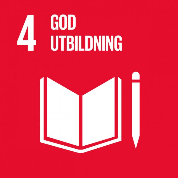 bild på mål fyra i globala målen röd bakgrund med vid text där det står 4 God utbildning och en illustration i vitt av en bok under